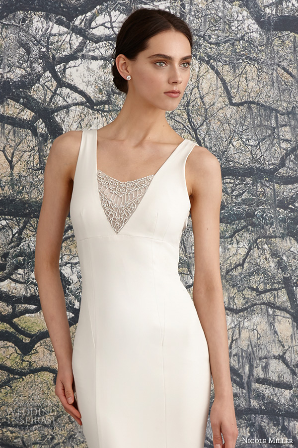 9993d835f5 nicole miller spring 2016 bridal strap v neckline beaded corded lace sheath  wedding dress jules closeup