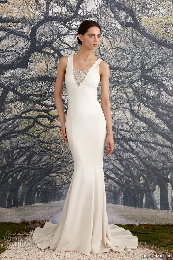 nicole miller spring 2016 bridal strap v neckline beaded corded lace sheath wedding dress jules