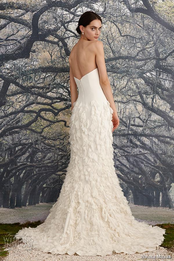 nicole miller spring 2016 bridal strapless sweetheart neckline leaf applique fit to flare mermaid wedding dress tessa back