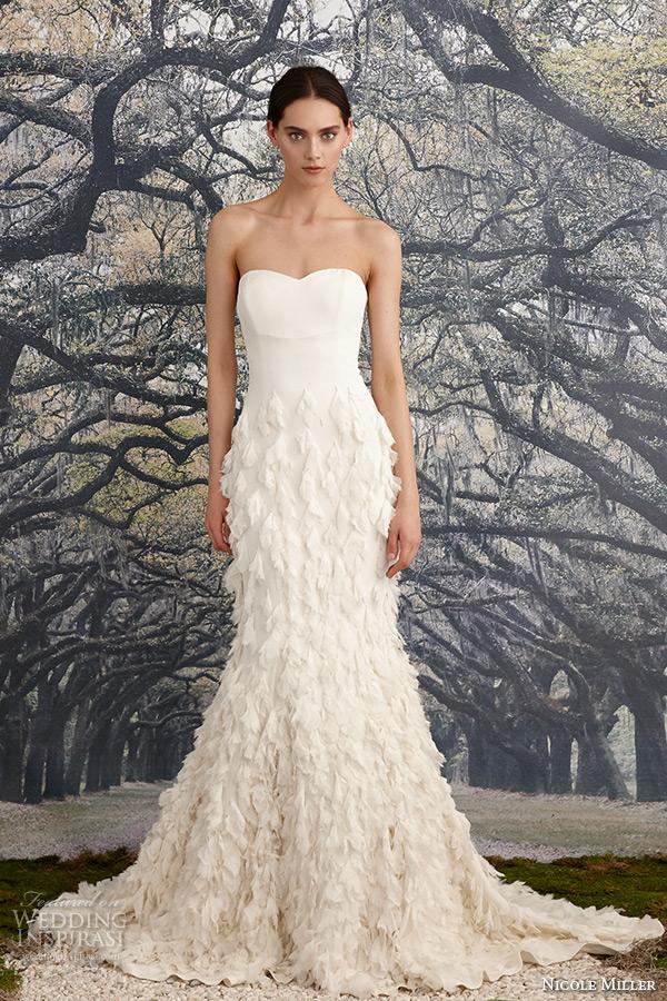 nicole miller spring 2016 bridal strapless sweetheart neckline leaf applique fit to flare mermaid wedding dress tessa