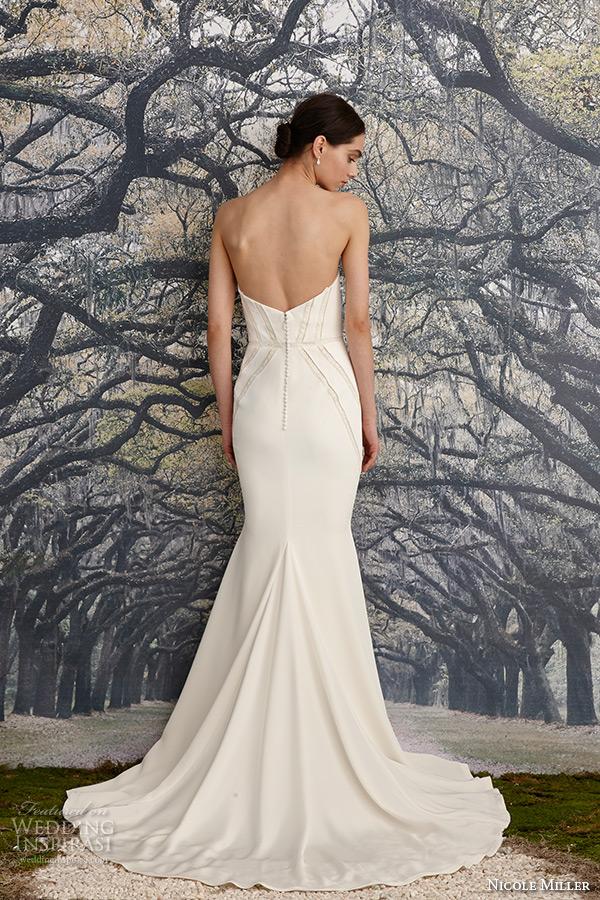 nicole miller spring 2016 bridal strapless sweetheart neckline stretch crepe de chine sheath wedding dress blythe back