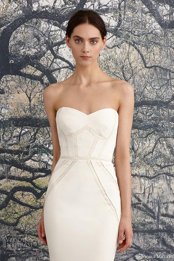nicole miller spring 2016 bridal strapless sweetheart neckline stretch crepe de chine sheath wedding dress blythe closeup