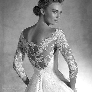 pronovias atelier 2016 haute couture ionela mikado silk lace a line wedding dress three quarter sleeves back view