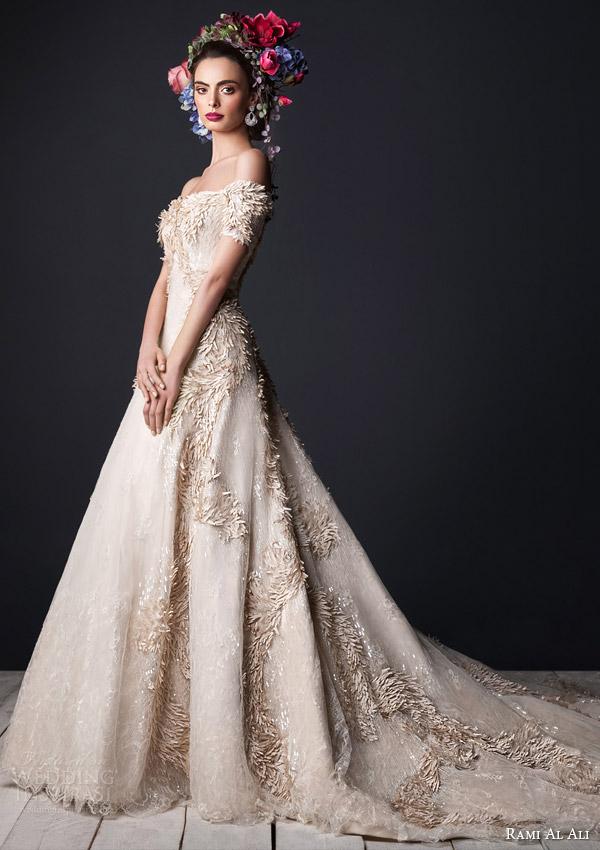 Rami Al Ali Bridal 2017 Off The Shoulder Wedding Dress Short Sleeves Train Full Closer