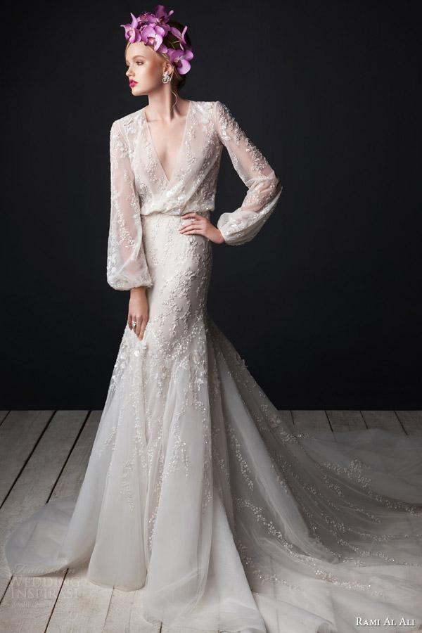 Rami Al Ali Bridal 2017 V Neck Blouson Wedding Dress Long Bi Sleeves Et Skirt