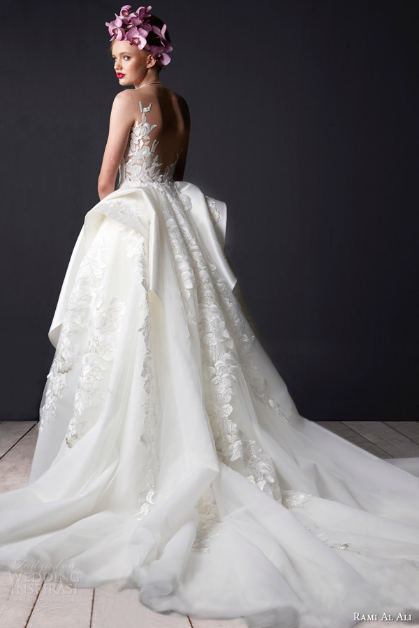 Rami Al Ali Bridal 2015 Wedding Dress Split Crumb Catcher Neckline Side Drape Back View Trai