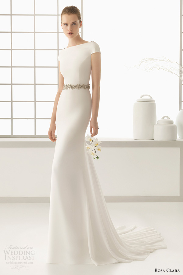 rosa clara 2016 bridal collection bateau neckline short sleeves clean simple white sheath wedding dress denise full