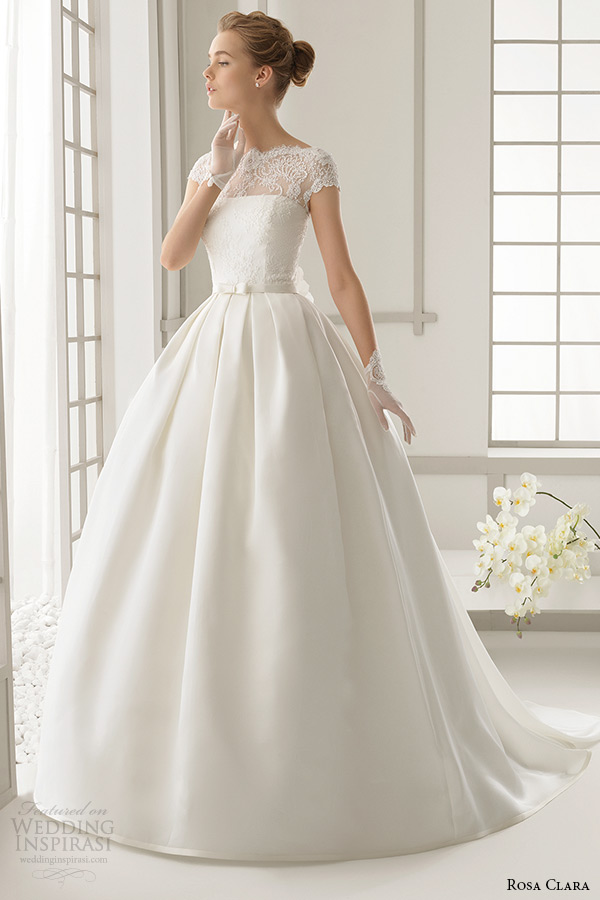 rosa clara 2016 bridal collection bateau neckline short sleeves wedding ball gown dress daroca front