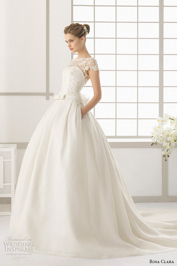 rosa clara 2016 bridal collection bateau neckline short sleeves wedding ball gown with pockets dallas