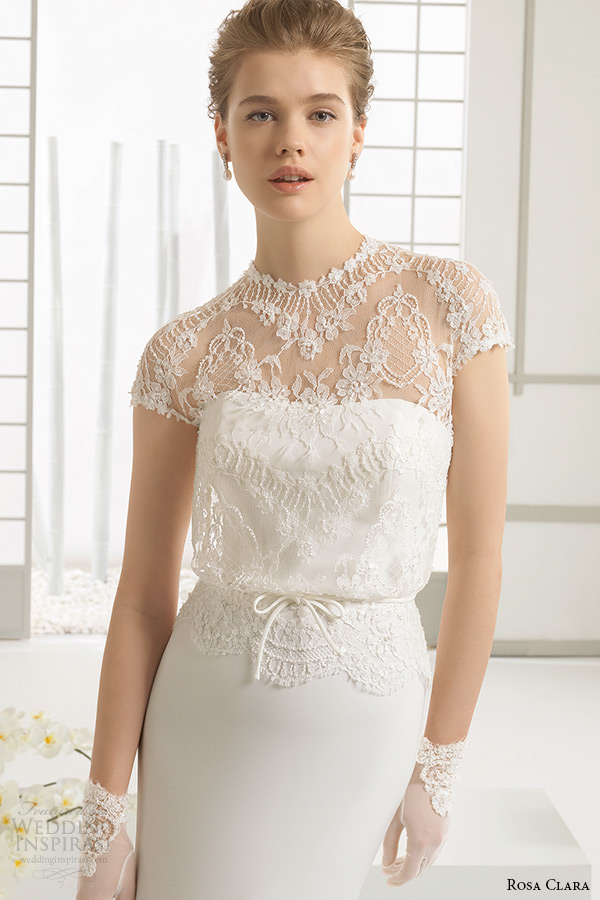 rosa clara 2016 bridal collection high neck lace short sleeves white sheath wedding dress dafne zoom