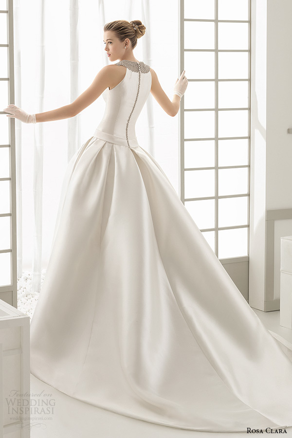 rosa clara 2016 bridal collection jewel neckline sleeveless white wedding ball gown dress with pockets delta back