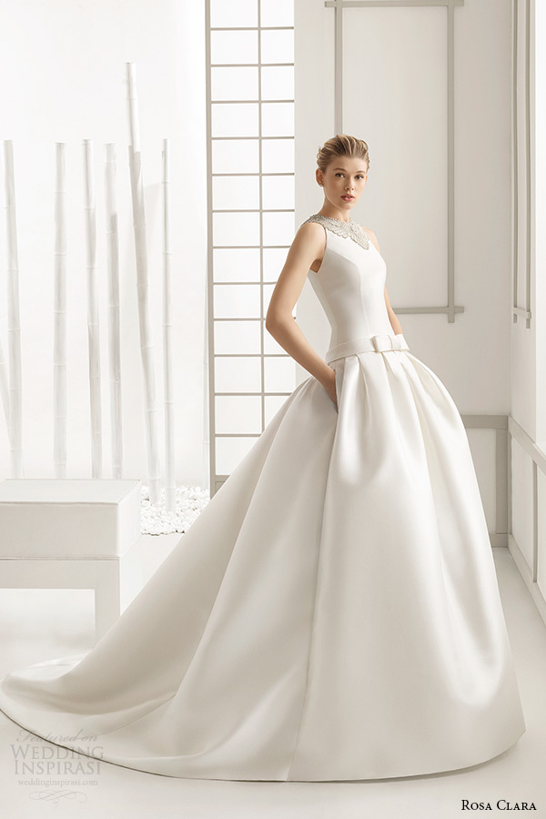 rosa clara 2016 bridal collection jewel neckline sleeveless white wedding ball gown dress with pockets delta