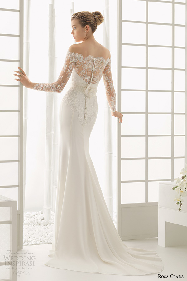 Rosa Clara 2016 Bridal Collection Off The Shoulder Long Sleeves White Sheath Wedding Dress Back View