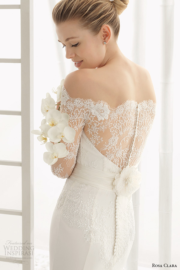 rosa clara 2016 bridal collection off the shoulder long sleeves white sheath wedding dress back view zoom dado