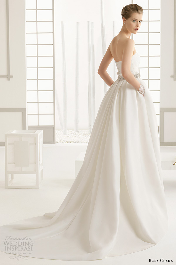 rosa clara 2016 bridal collection strapless straight across neckline white wedding ball gown with pockets dakar back
