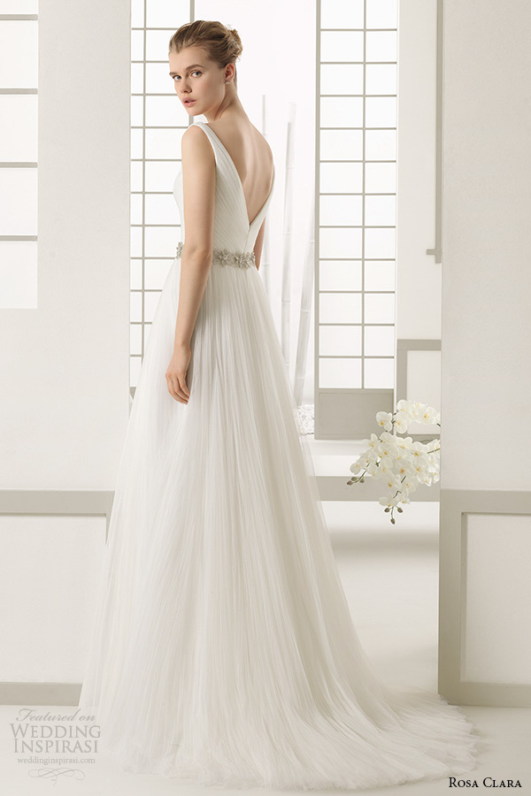rosa clara 2016 bridal collection v neckline a line weding dress danes back