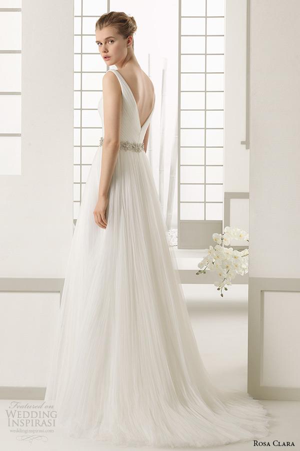 rosa clara 2016 bridal collection v neckline a line weding dress danes back