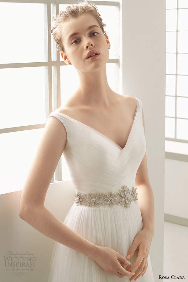 rosa clara 2016 bridal collection v neckline a line weding dress danes front zoom