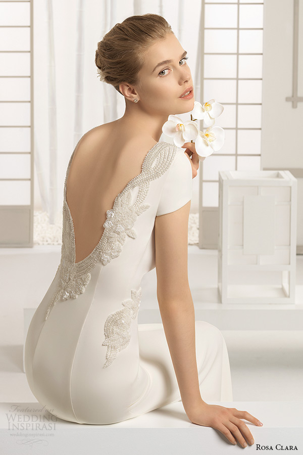 rosa clara bridal 2016 collection bateau neckline cap sleeves white clean sheath wedding dress v low cut back delhi zoom