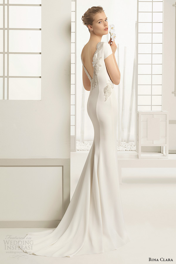 rosa clara bridal 2016 collection bateau neckline cap sleeves white clean sheath wedding dress v low cut back delhi