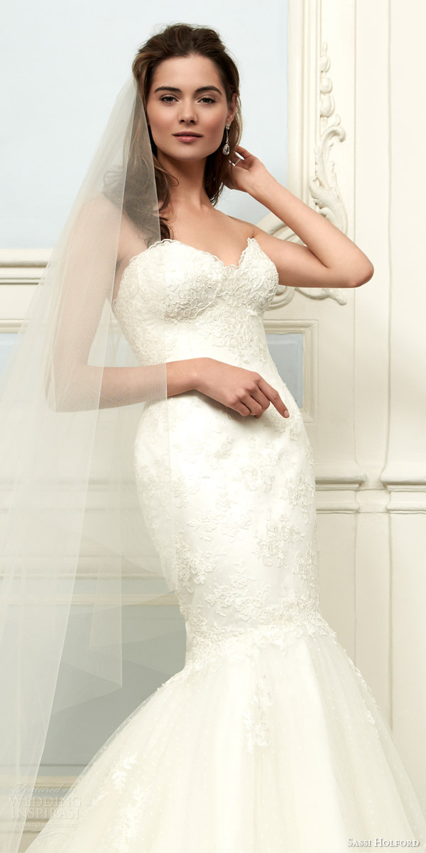 sassi holford 2015 saffron strapless lace mermaid wedding dress couture