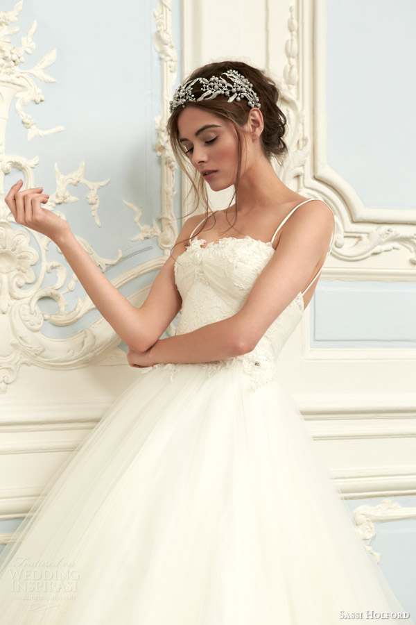 sassi holford bridal 2015 naomi couture wedding dress savoy collection ball gown straps bodice close up