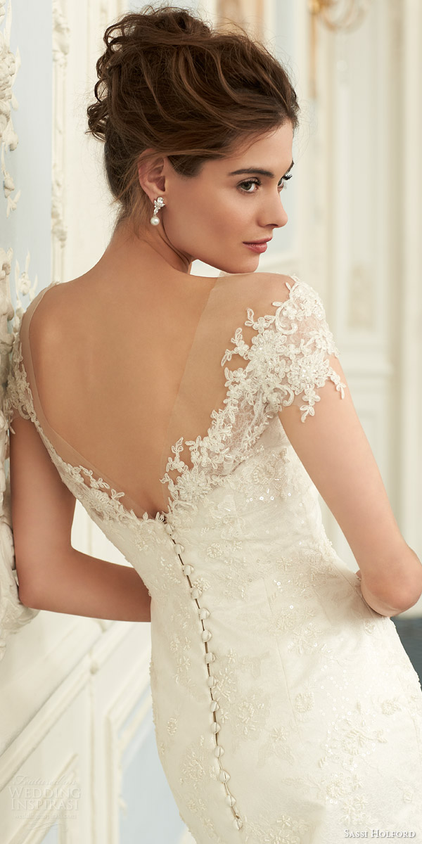sassi holford bridal 2015 stella couture wedding dress illusion lace back view close up