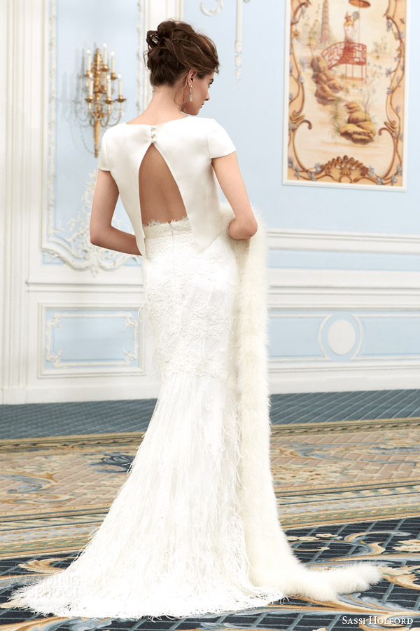 sassi holford bridal couture wedding dresses 2015 savoy collection leonie short sleeve crop top lace skirt split back view