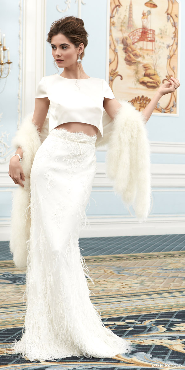 sassi holford bridal couture wedding dresses 2015 savoy collection leonie short sleeve crop top lace skirt