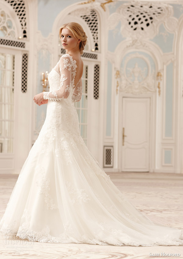 sassi holford catriona christina illusion neckline long sleeve wedding dress 2015 couture collection side view train