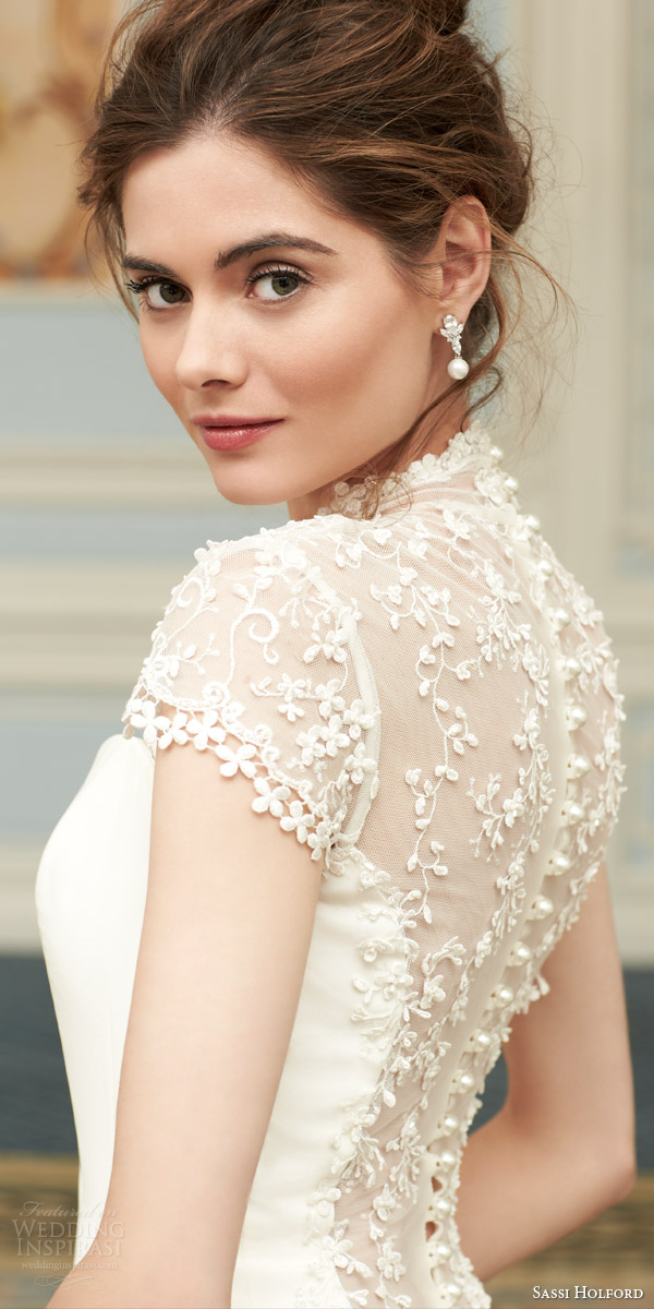 sassi holford couture 2015 savoy bridal collection arianna cap sleeve wedding dress back view