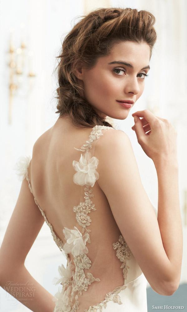 sassi holford couture bridal 2015 savoy nadia wedding dress illusion back view close up