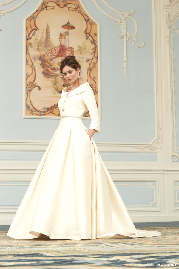 sassi holford wedding dress 2015 savoy couture bridal collection violet wedidng dress funnel neck collar full view pleated skirt
