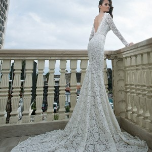 shabi and israel wedding dresses 2015 deep v neck lace long sleeves white  sheath dress bridal gown low v cut back  523aff997