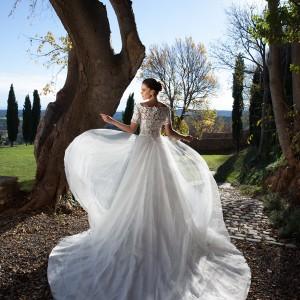 tarik ediz bridal 2015 oltu off shoulder wedding dress half sleeve lace bodice back view