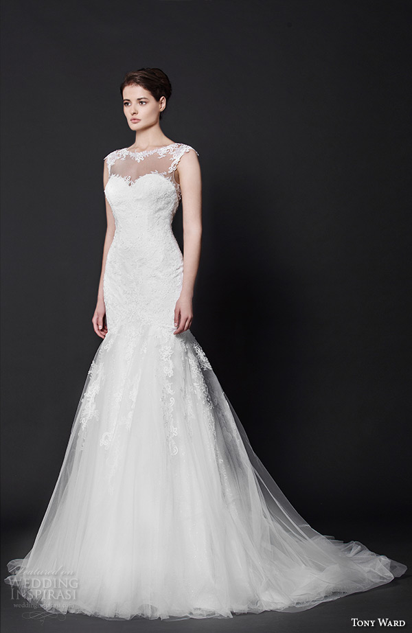 tony ward 2016 bridal bateau neckline sheer fit to flare mermaid wedding dress lynn