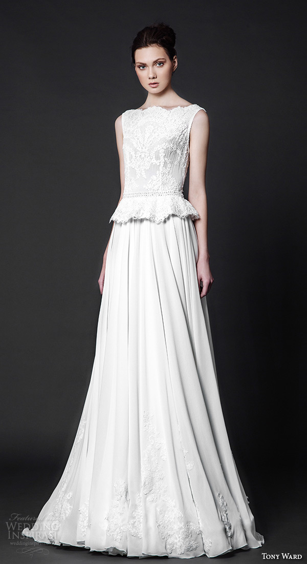 tony ward 2016 bridal bateau neckline sleeveless peplum lace top sheath wedding dress cypress