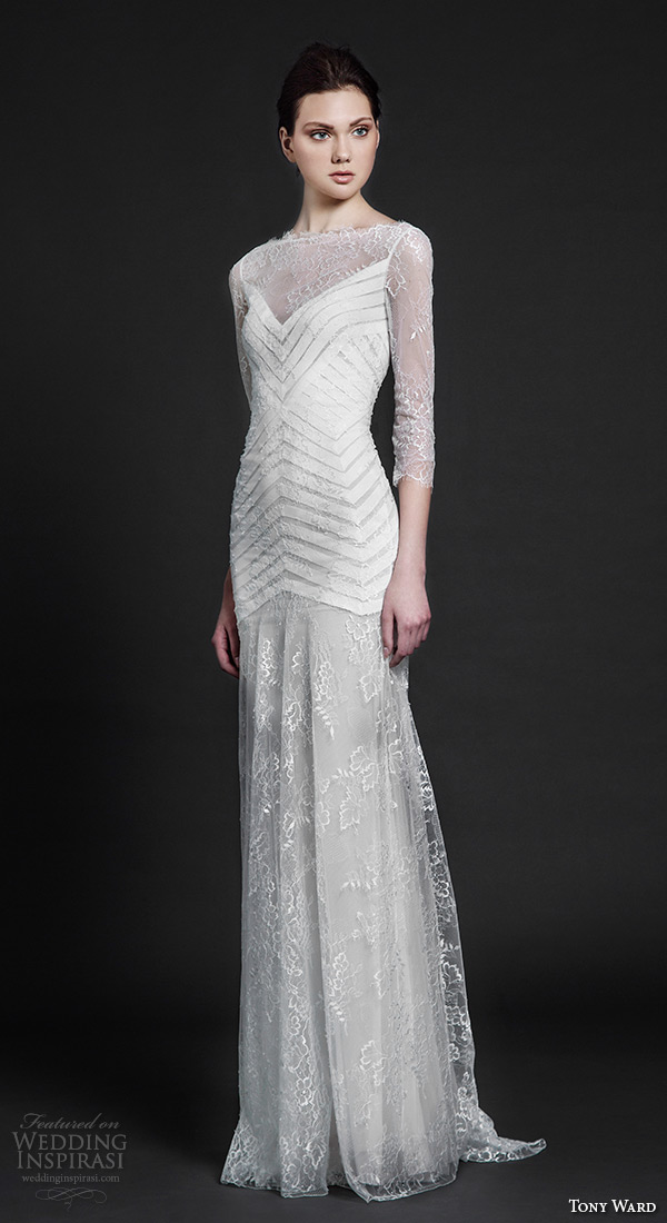 tony ward 2016 bridal bateau neckline three quarter 3 4 sleeves sheath weding dress holly