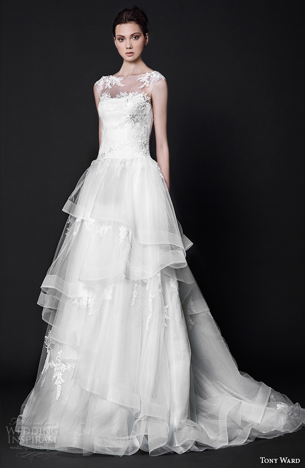 tony ward 2016 bridal illusion bateau neckline tulle horse hair trim a line wedding dress charlotte