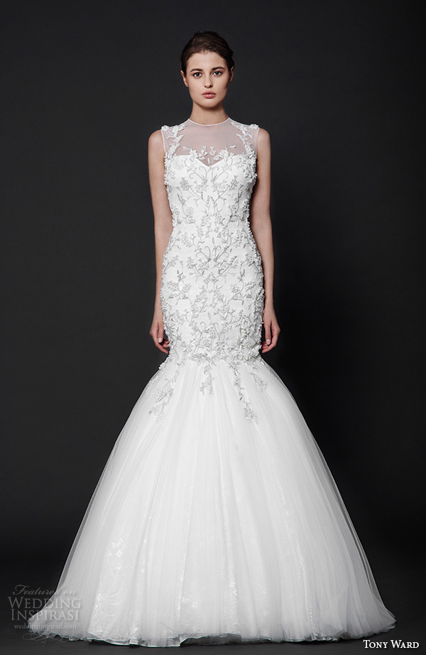 tony ward 2016 bridal illusion jewel neckline floral embroidery fit to flare mermaid wedding dress angelica