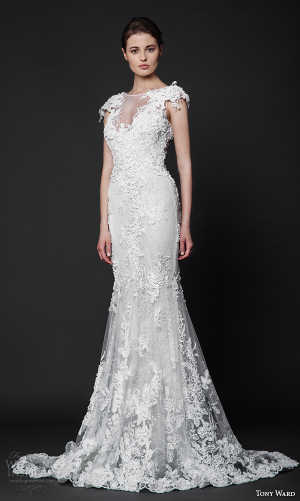 tony ward 2016 bridal lace floral cap sleeves sheer bateau neckline embroidery fit to flare trumpet wedding dress ida