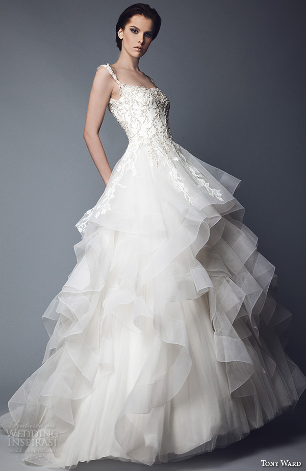 tony ward 2016 bridal off the shoulder beaded bodice horse hair trimmed layered wedding ball gown dress tendre nuage 2