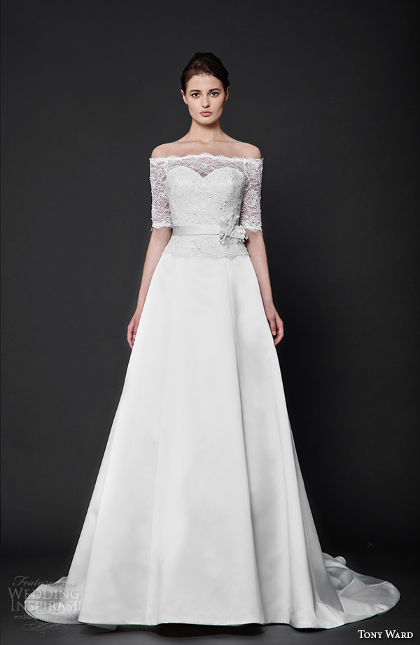tony ward 2016 bridal off the shoulder half sleeves lace a line wedding dress gosia