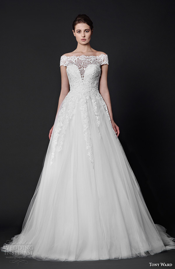 tony ward 2016 bridal off the shoulder lace illusion neckline a line wedding dress felicia