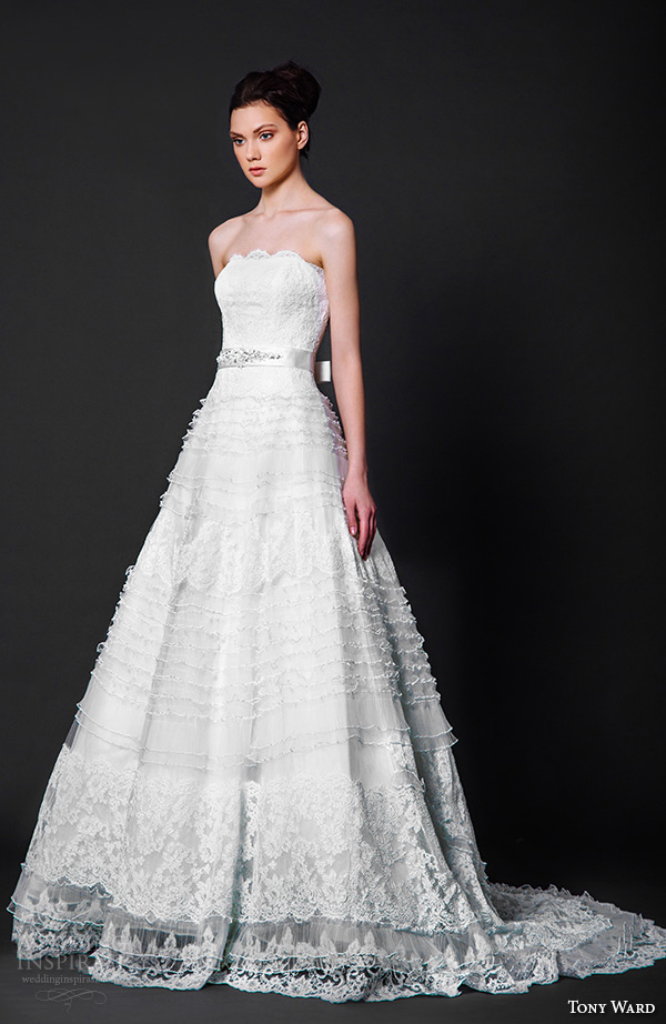 tony ward 2016 bridal scallop straight across neckline a line wedding dress cindy