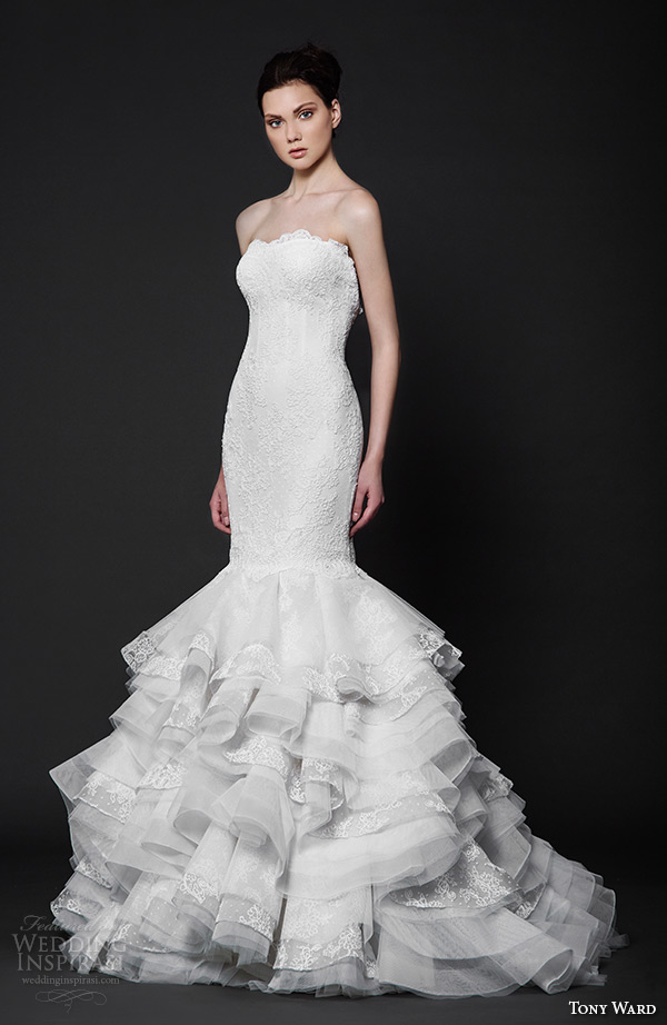 tony ward 2016 bridal semi sweetheart neckline horse hair trim mermaid wedding dress brise