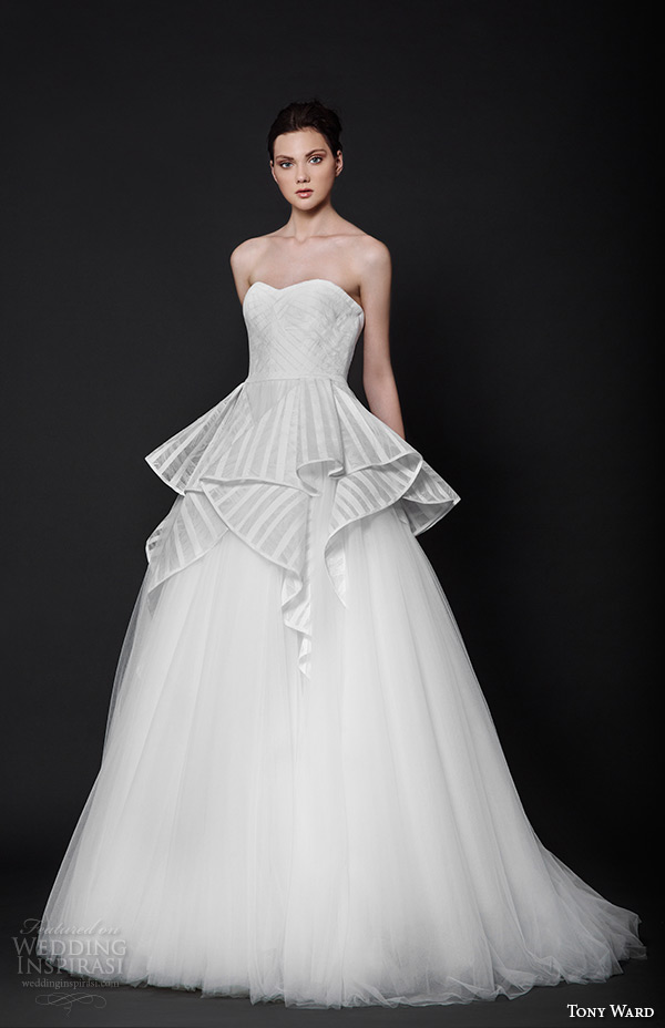 tony ward 2016 bridal semi sweetheart neckline peplum a line wedding dress vanity