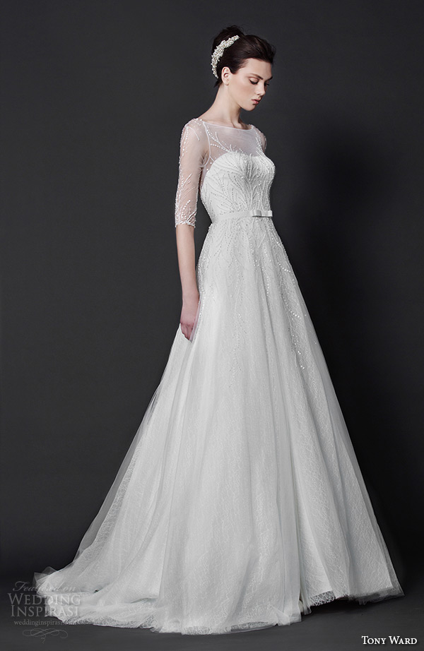 tony ward 2016 bridal sheer bateau neckline half sleeveless a line wedding dress with belt myrtle
