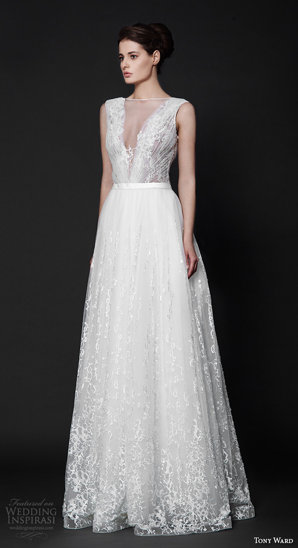 tony ward 2016 bridal sleeveless bateau neckline v neck plunging neckline modified a line wedding dress zinnia