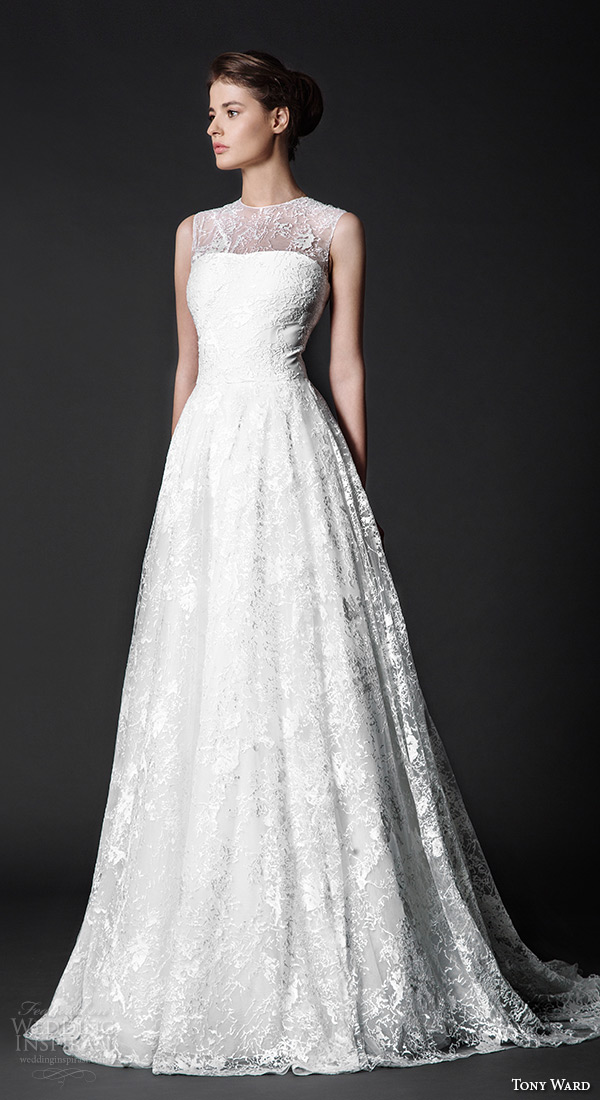 tony ward 2016 bridal sleeveless jewel neckline embroidery modified a line wedding dress versilla